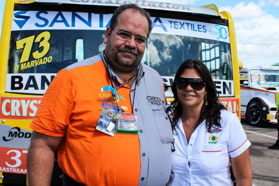 Chico da Boleia e Neusa Navarro presidente da Fórmula Truck