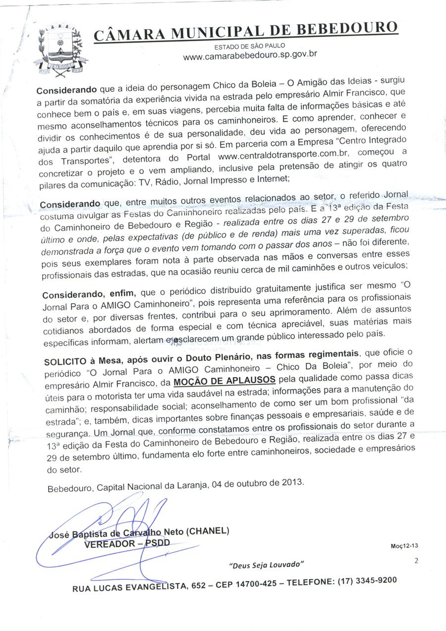 Chico da Boleia recebe reconhecimento da Câmera Municipal de Bebedouro