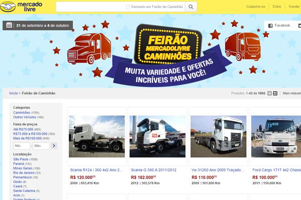 Site promove feirão de caminhões