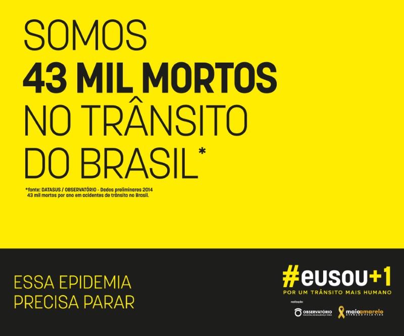Maio Amarelo lança campanha #sou+um por um trânsito mais humano