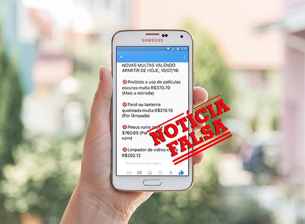 Corrente falsa nas redes sociais lista valores errados de multas de trânsito