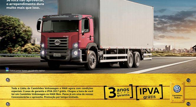 Caminhões Volkswagen e MAN agora com IPVA grátis e três anos de garantia do trem de força