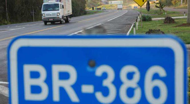 Usuário pagará R$ 36,10 de pedágio para trafegar 200 quilômetros na BR-386