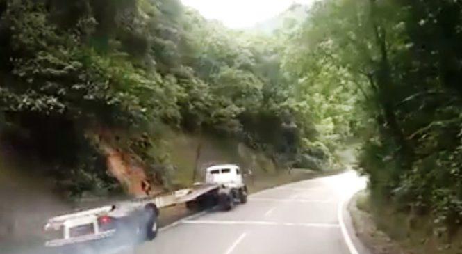 Vídeo registra caminhão sem freio em acidente na Rodovia Anchieta, em SP; assista