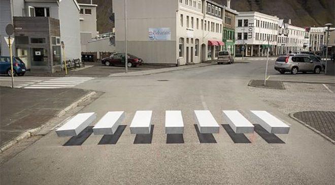 Cidade na Islândia testa faixa de pedestres 3D