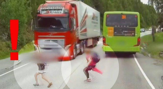 Flagra: Essas crianças se salvaram (por pouco) graças à frenagem automática do caminhão Volvo FH