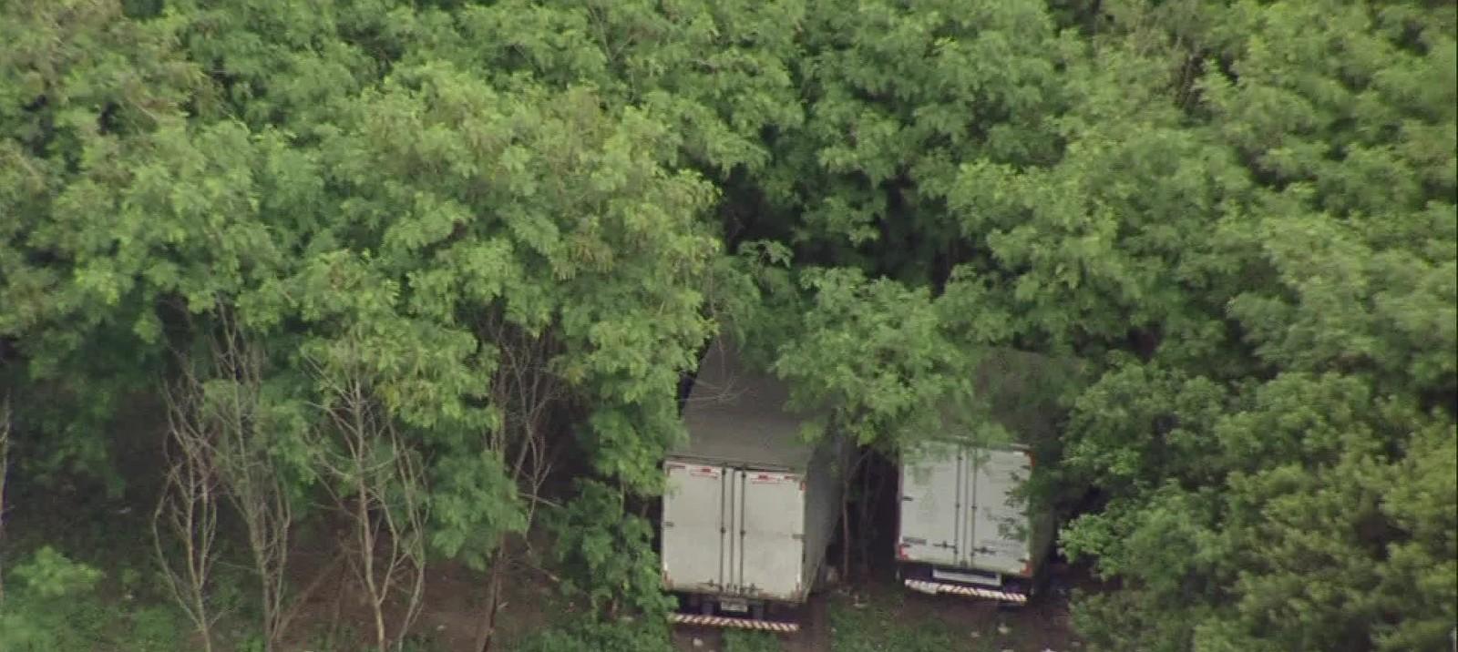 Esconderijo de caminhões roubados