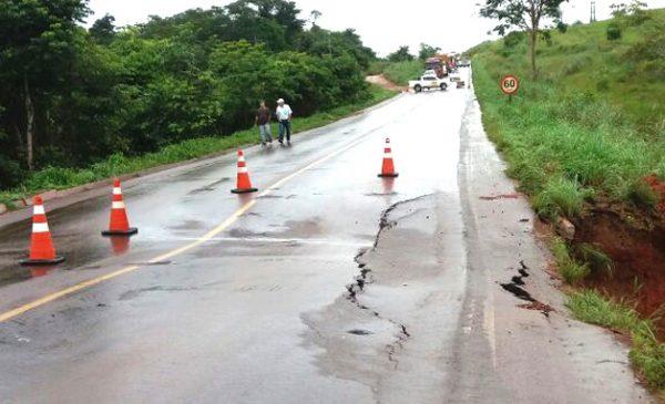 Nortão: DNIT inspeciona trecho da BR-163 danificado pelas fortes chuvas e tráfego segue interditado