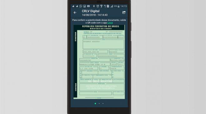 CRLV Digital poderá ser compartilhado em até cinco outros celulares
