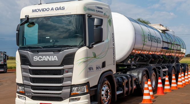 Demonstração entre Scania, Citrosuco e Morada do Sol comprovam viabilidade no custo do transporte do caminhão movido a GNV