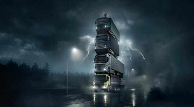 Volvo empilha quatro caminhões uns sobre os outros em novo anúncio