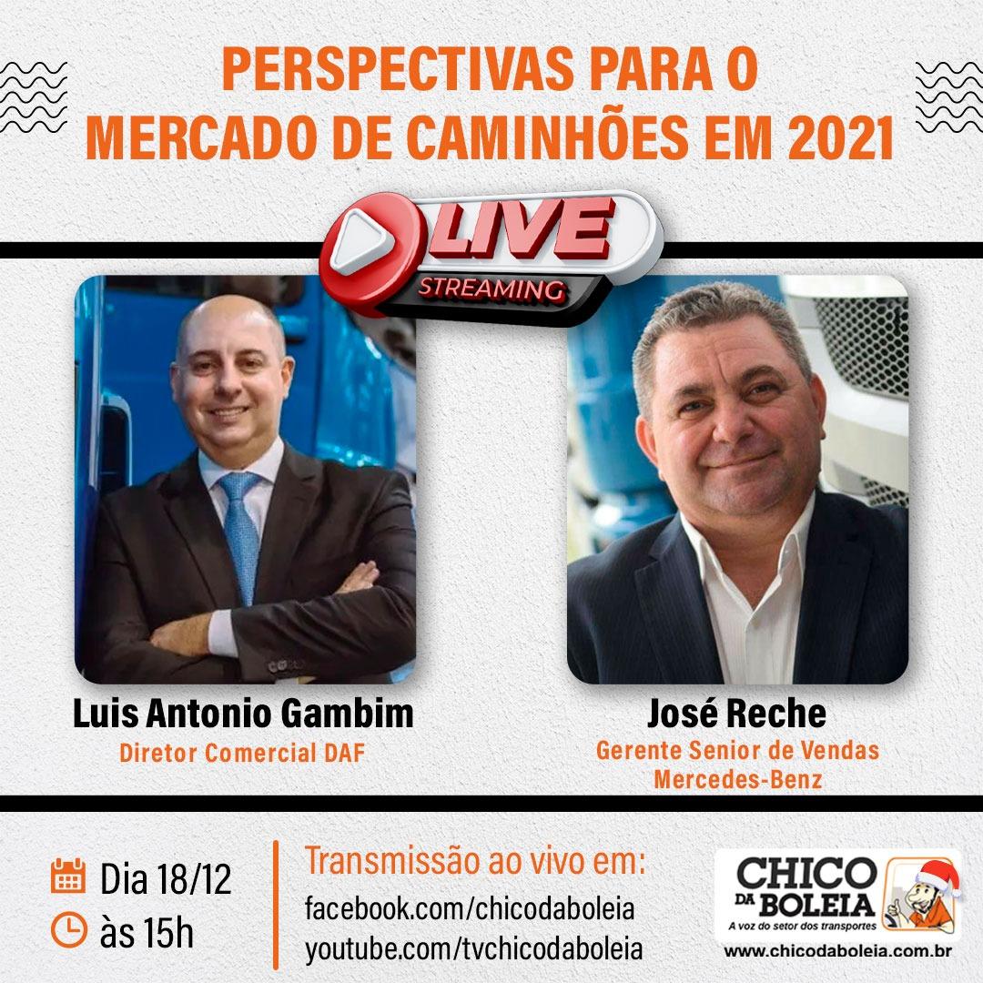 Chico da Boleia realiza live com Luis Antonio Gambim e José Reche