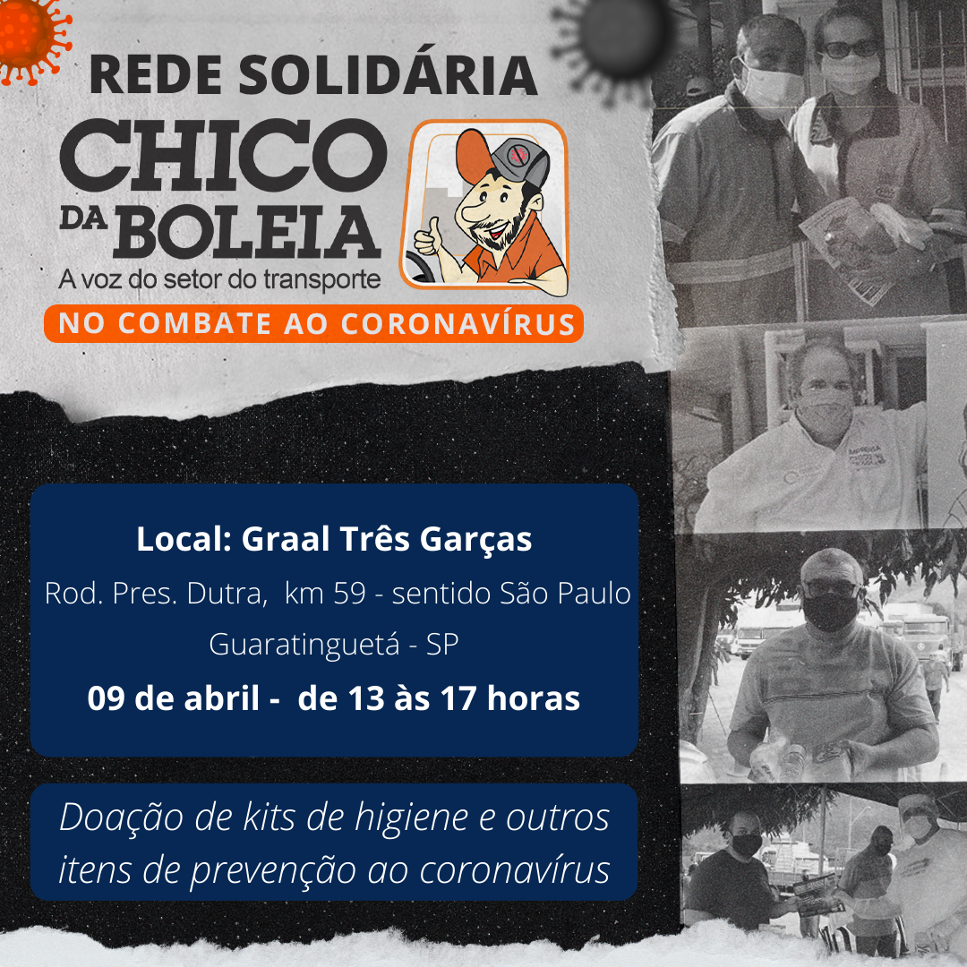 """Ação da """"Rede Solidária Chico da Boleia"""" acontece nesta sexta-feira, 9, no posto Graal Três Garças"""